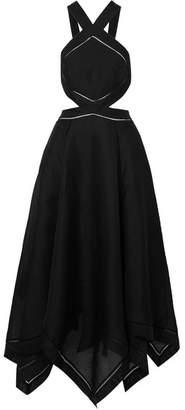 Zimmermann Corsage Cutout Silk And Linen-blend Halterneck Maxi Dress