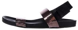 Pedro Garcia Metallic Dual-Strap Sandals