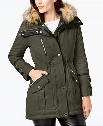GUESS Faux-Fur-Trim Hooded Anorak