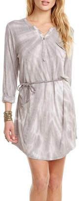 Chaser Rolled-Cuff Henley Dress