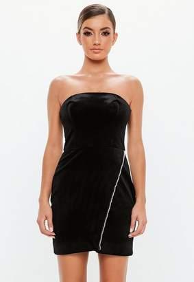 Missguided Black Velvet Bandeau Mini Dress
