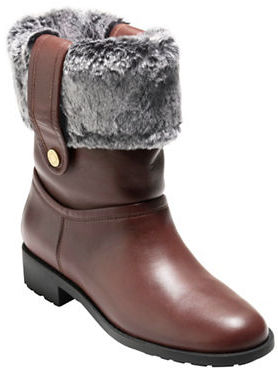 Cole Haan  Cole Haan Breene Faux Fur-Trimmed Leather Ankle Boots