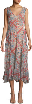 Tularosa Caroline Lace-Up Printed Maxi Dress