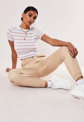 Missguided Tall White Double Stripe Ribbed T Shirt