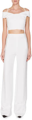 Roland Mouret Cropped Off-Shoulder Halter Top, White