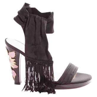 Ungaro Black Leather Sandals