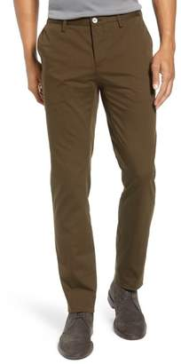 BOSS Stanino Flat Front Stretch Cotton Solid Trousers