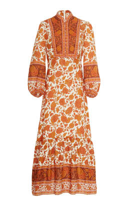 Zimmermann Amari Floral-Print Linen Maxi Dress Size: 0