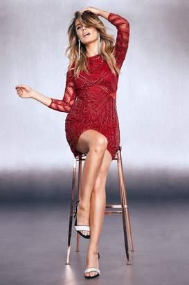 boohoo Premium Embellished Mesh Cut Out Mini Dress