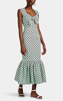 Rebecca De Ravenel Women's Tie-Front Floral Cotton Dress - Lt. Green