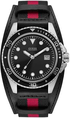GUESS Men's Crew 44mm Two Tone Leather Band Steel Case Quartz Watch W1051G1
