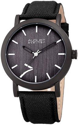 August Steiner Mens Black Strap Watch-As-8238bk