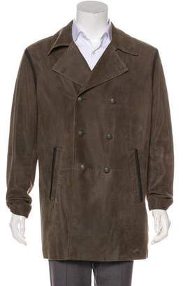 John Varvatos Suede Double-Breasted Coat
