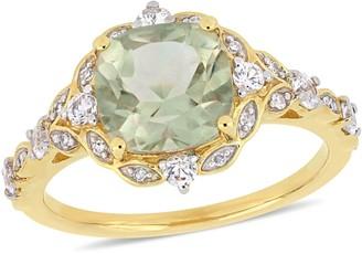 14K 2.40 cttw Green Amethyst, White Sapphire& Diamond Ring