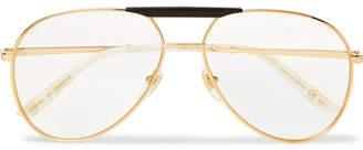 Gucci Endura Aviator-Style Acetate And Gold-Tone Optical Glasses
