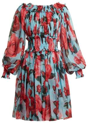 Dolce & Gabbana Rose Print Chiffon Dress - Womens - Blue Print