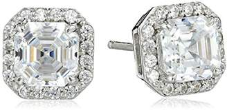 Swarovski Myia Passiello Timeless Platinum-Plated Sterling Silver and Zirconia Asscher-Cut Halo Earrings