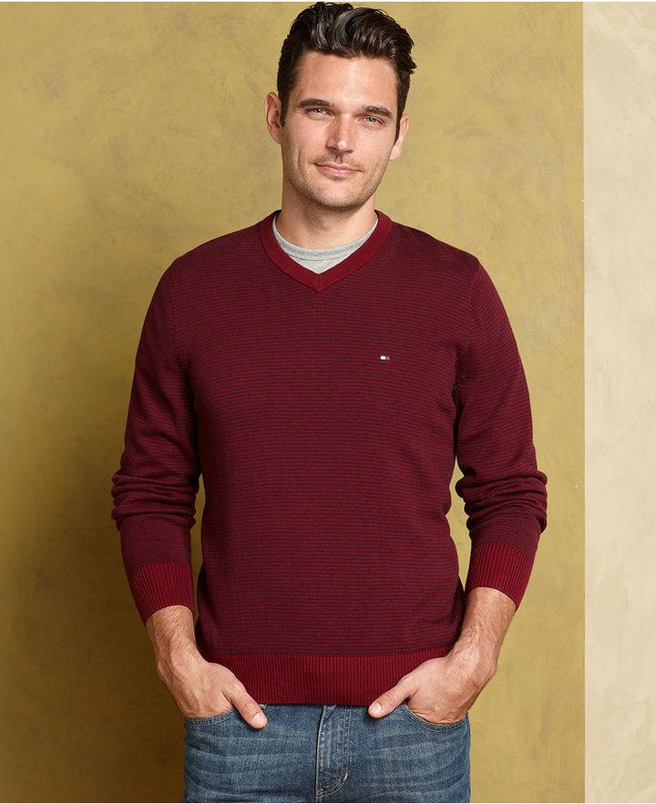 Tommy Hilfiger Sweater, Ace Stripe V-Neck Sweater