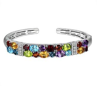 Judith Ripka Sterling Silver Multi-Gemstone Cuff Bracelet
