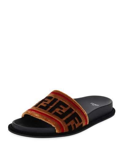 Fendi FF Velvet Flat Slide Sandal