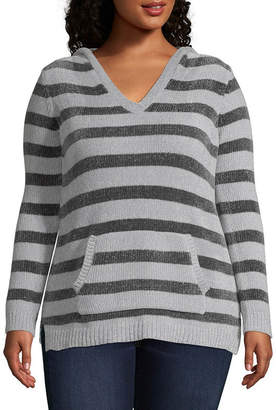 DEREK HEART Derek Heart Not Applicable Long Sleeve V Neck Stripe Pullover Sweater-Juniors Plus