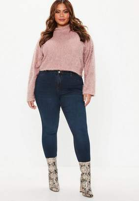 Missguided Plus Size Pink Fluffy Cropped Sweater