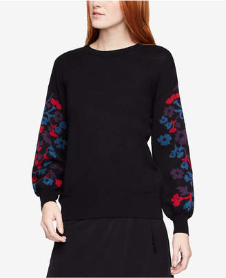 BCBGeneration Cotton Floral-Jacquard Pullover Sweater