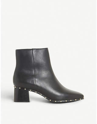 Dune Black Osca studded leather ankle boots