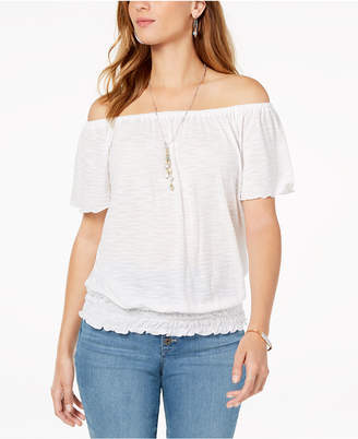 Style&Co. Style & Co Petite Smocked Off-The-Shoulder Top, Created for Macy's