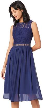 Truth & Fable TRUTH & FABLE Women's Lace Trim Bridesmaid Midi