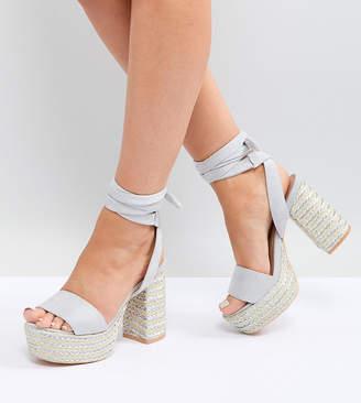 Lost Ink Wide Fit Light Gray Platform Heeled Sandals