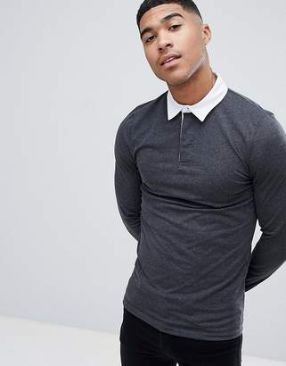 Asos Muscle Long Sleeve Polo Shirt In Rugby Style In Charcoal