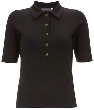 9f67bed60 Mint Velvet Black Rib Button Polo Shirt