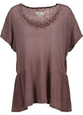 Current/Elliott The Girlie Linen And Cotton-Blend Peplum Top
