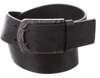 Fendi Patterned Leather Belt Black Patterned Leather Belt