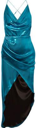 Haney - Holly Open-back Metallic Satin Midi Dress - Turquoise