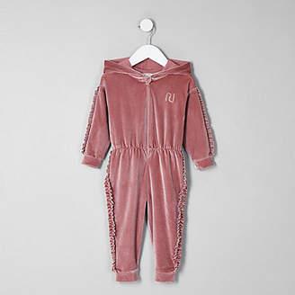 River Island Mini girls pink velvet hooded onesie