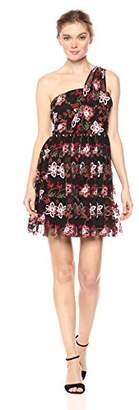 BCBGeneration Women's One Shoulder Embroidered Tutu Dress