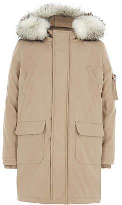 River Island Boys stone faux fur trim hood parka coat