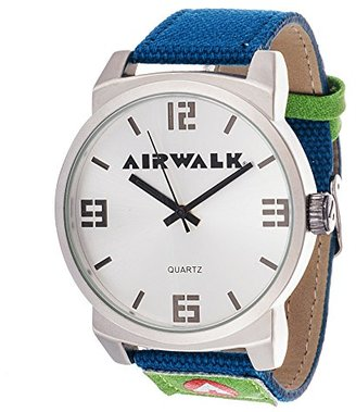 Airwalk アナログSilver Dial andブルーCanvas Watch