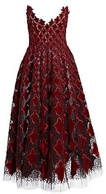 Oscar de la Renta Women's Strapless Velvet & Tulle Tea-Length Dress