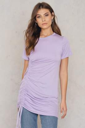 boohoo Rouched Side T-Shirt Dress Grey