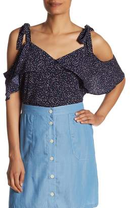 FRNCH Tie Cold Shoulder Printed Top