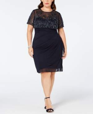 Xscape Evenings Plus Size Beaded Ruched Shift Dress