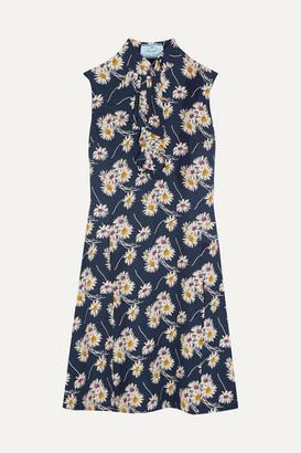 Prada Ruffled Floral-print Crepe Dress - Navy