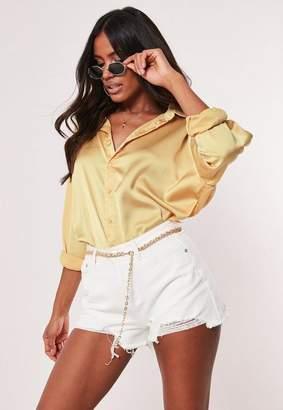 Missguided Mustard Satin Oversized Shirt