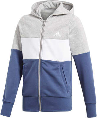 adidas Girls Sport ID Hoodie Grey / Blue 12
