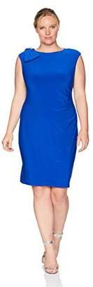 Jessica Howard Plus Size Womens Cap Sleeve Side Tuck Sheath