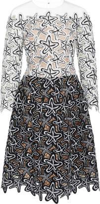 Oscar de la Renta Illusion Guipure Lace Midi Dress