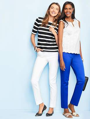 Talbots Lace-Up Back Stripe Tee